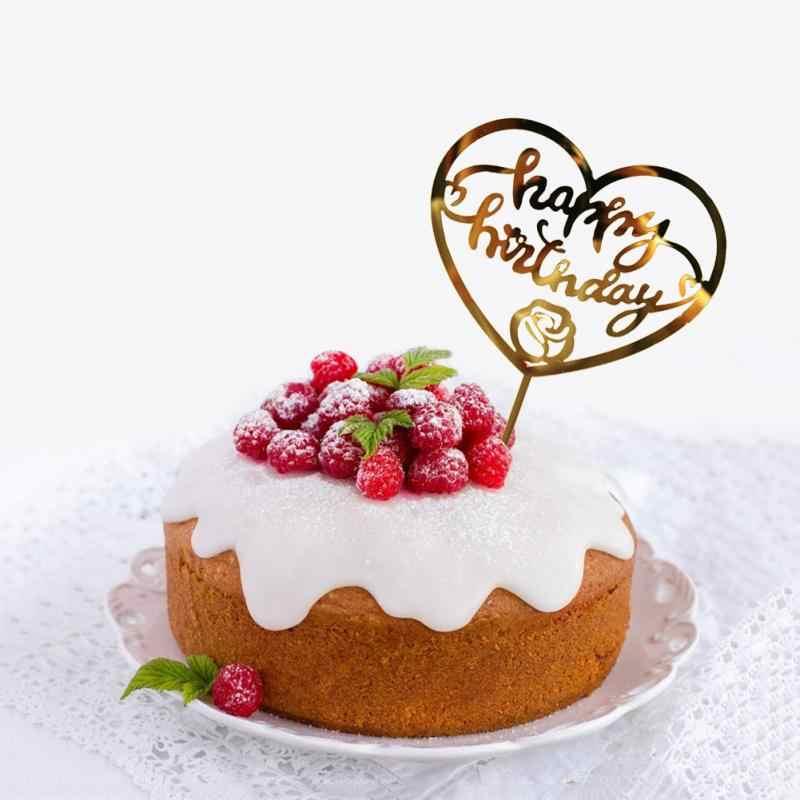 1PC ケーキトッパーカードファッションゴールドスリヴァー誕生日装飾愛ケーキインサートカードケーキ装飾結婚式誕生日パーティー