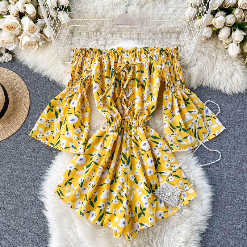 Boho Jumpsuits Women Slim High Waist Shorts Playsuits New 2020 Summer Sexy Off Shoulder Bow Sweet Rompers Ladies Floral Overalls