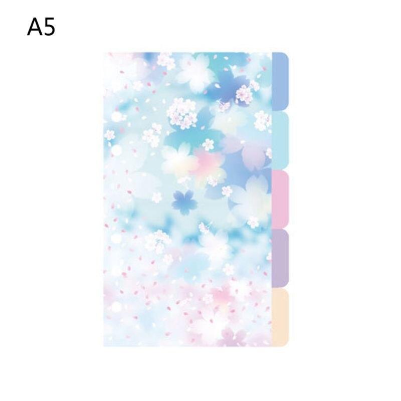 1Set Cherry Blossom A5 A6 Loose Leaf Notebook Divider Index Separator Binders M17F