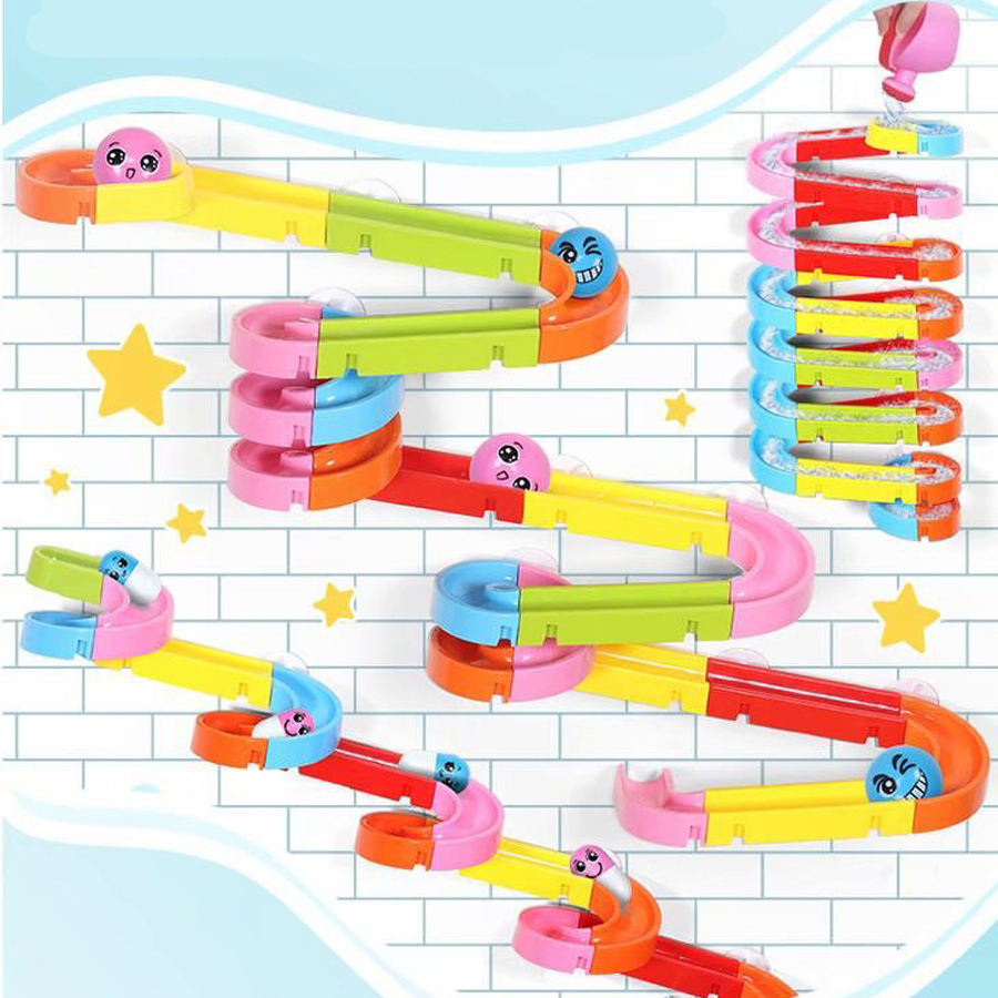 Water Games Marble Run Race Maze Suction Cup Orbits Bathroom Toys Baby Bath Track Toys Children Assembling Track Slides Blocks
