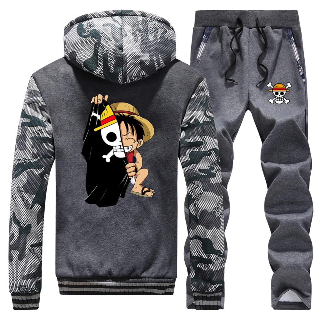 One Piece Anime Mens Track Set 2020 New Style Thick Male Camouflage Hoodies+Sweatpants Streetwear Brand Two Piece Suit Harajuku