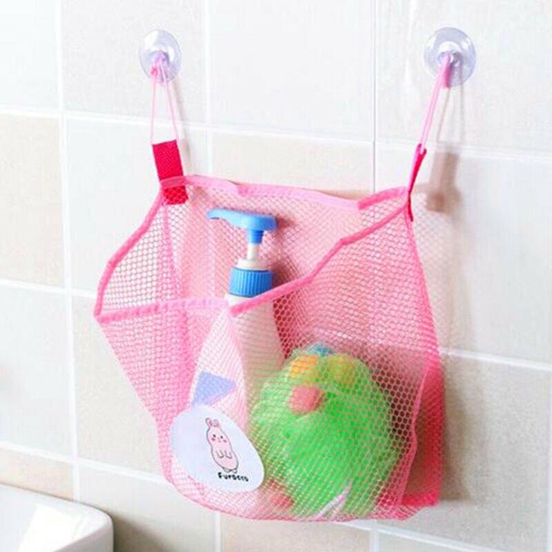 Wall Hanging Sucker Mesh Storage Bag Shower Organizer Bathroom Storage Case Pink