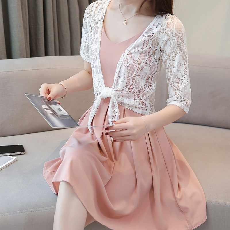 Verano Mujer encaje Crochet Bowknot Lace Up blusa corta protección solar playa cubrir hacia arriba ahuecado tapas cabo blusas camisa blanca