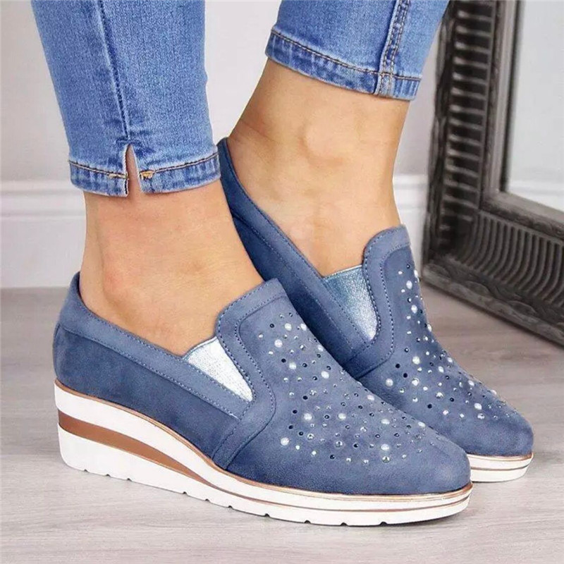 Hot Wedges Shoes For Women Cow Suede New Bling Autumn Shoes Woman Fashion Slip-On Round Toe Casual Flats Comfortable Platform