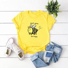 Summer Plus Size TShirt S-5XL Lovely Bee Print T Shirt Women Shirts 100%Cotton O Neck Short Sleeve Tees Women Pink Tops