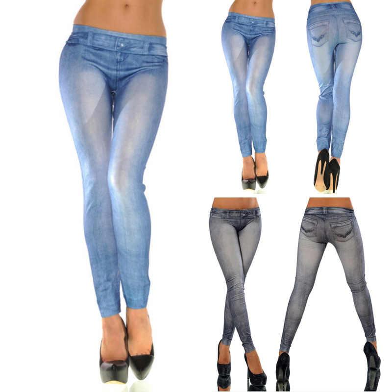ผู้หญิง Denim Classic Elastic Slim Cropped กางเกงกางเกงเซ็กซี่เทียม Jean ผอมนุ่ม