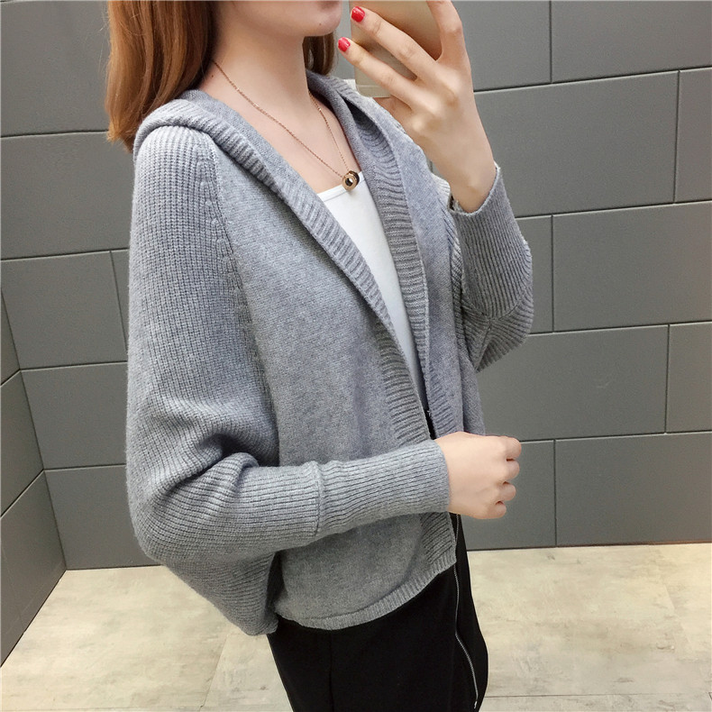 2019 Free send New style Korean loose and comfortable Autumn women Cardigan Sleeve of bat Hooded Sweater coat 127
