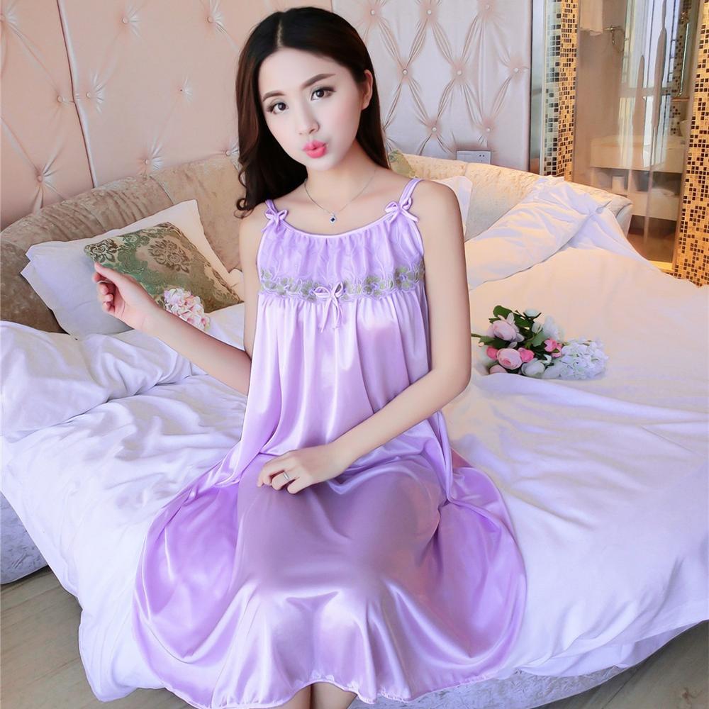 2020 Embroidery Satin Nightgown Sexy  Lace Sleepwear  Strap Spaghetti Ladies Silk Nightwear Sleep Wear Night Gown Lingerie Dress