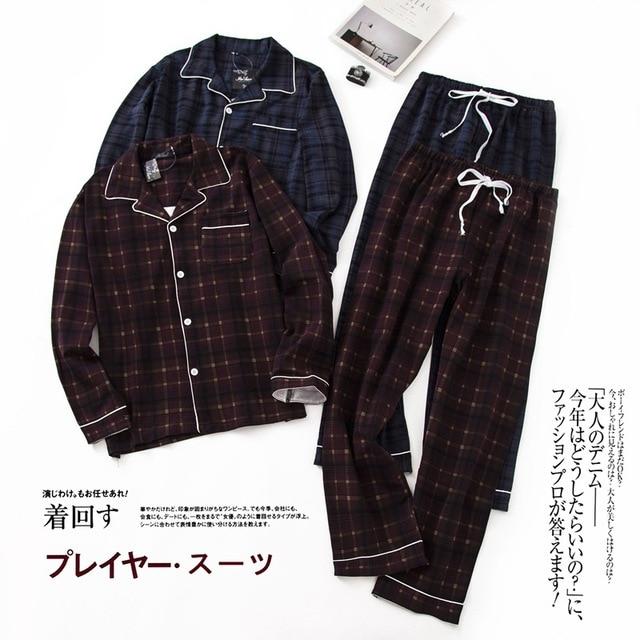Pijama sencillo de algodón a cuadros para hombre, ropa de dormir informal de Corea para invierno y otoño
