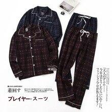 Simple Plaid Pure cotton pajamas sets mens winter autumn Korea casual sleepwear Men pyjamas homewear