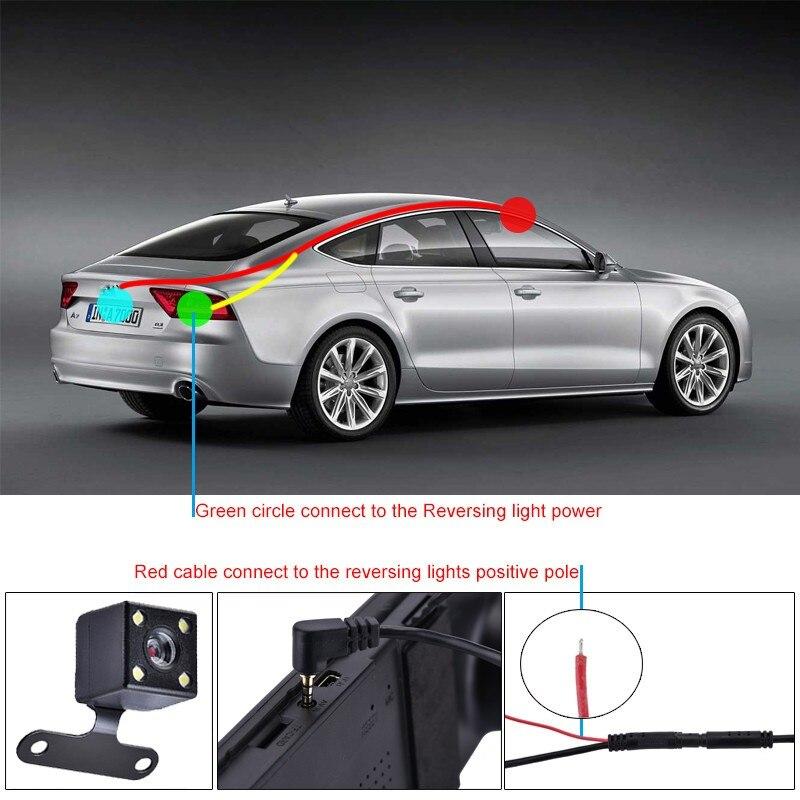 HD камера заднего вида со светодиодной подсветкой для автомобиля, камера заднего вида с 4 огнями, угол обзора 170 градусов, автомобильная парковочная камера s для подключения видеорегистратора
