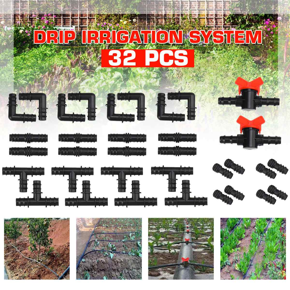 32pcs Automatic Garden Watering System Kits Valves Self Garden Irrigation Watering Kits Micro Drip Mist Spray Cooling System