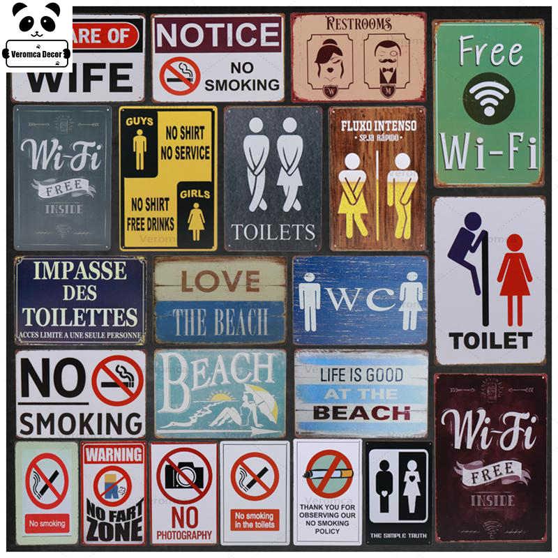 Vintage Metal Retro naklejki dekoracje ścienne płyta malowanie Tintin tablica żelazny pojemnik znaki WC WC bezpłatne WiFi znak plakat barowy