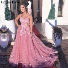 Женское вечернее платье на тонких бретельках розовое длинное