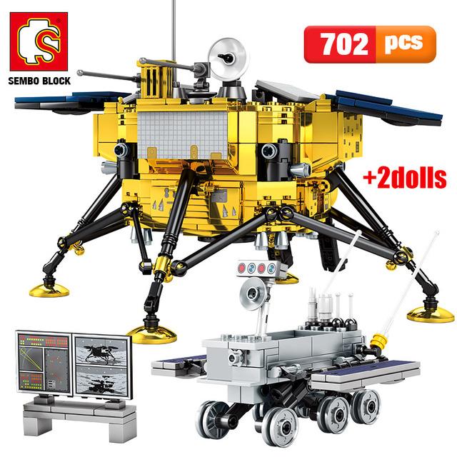 SEMBO City Technic Lunar Lander Building Blocks Classic Movie Exit Airship car Model Creator Cosmonaut Figures Bricks Kids Toys