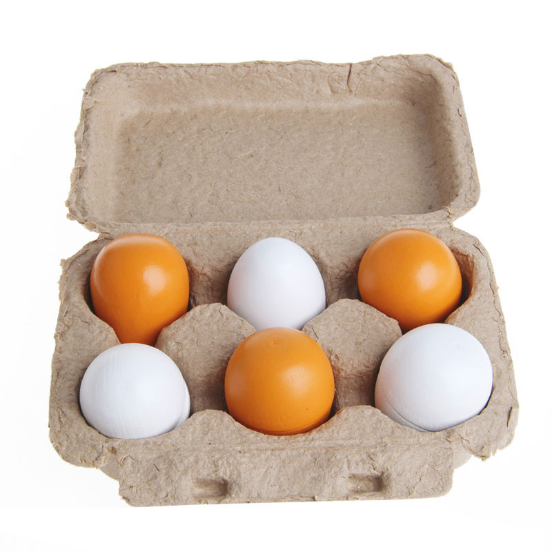 1Set/6pcs Wooden Eggs Yolk Pretend Play Kitchen Food Cooking Kid Child Toy Gift Set Gift New