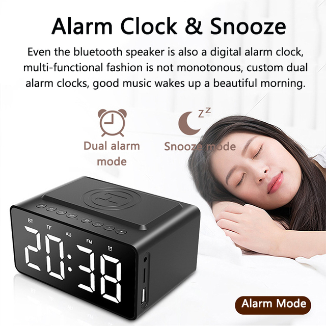 Fast Wireless Charger Phone Wireless Charging Pad Thermometer LED Alarm Clock Bluetooth Speaker Fast Charger For Iphone Samsung 3
