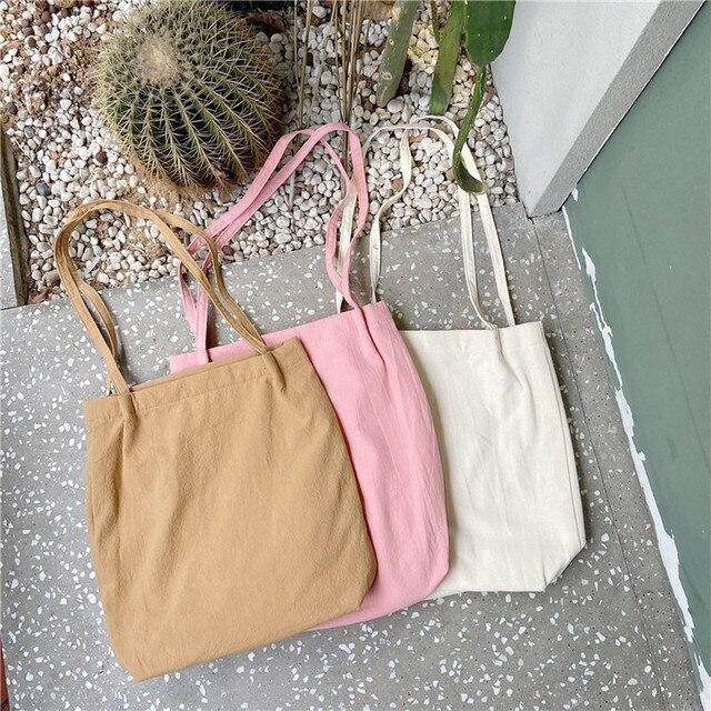 Women Canvas Shoulder Shopper Bags Eco Reusable Shopping Bag Cotton Cloth Tote Bags for Women 2020 Grocery Bag Ladies Handbags 6