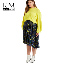 Kissmilk Plus Size Woman Clothes Bright Color Pattern Knit Vintage Lantern Sleeves Loose Bottoming Sweater