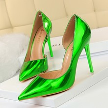 Zapatos de tacón alto de Metal para mujer, calzado de tacón fino, poco profundo, puntiagudo, sin un lado, Sexy, para club nocturno, 18188