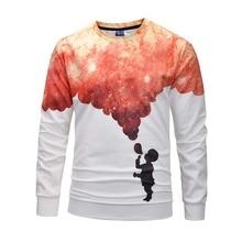 Creative Sky Sweatshirt Funny 3D Printed Crewneck Men 2019 Winter Autumn Hip Hop Streetwear