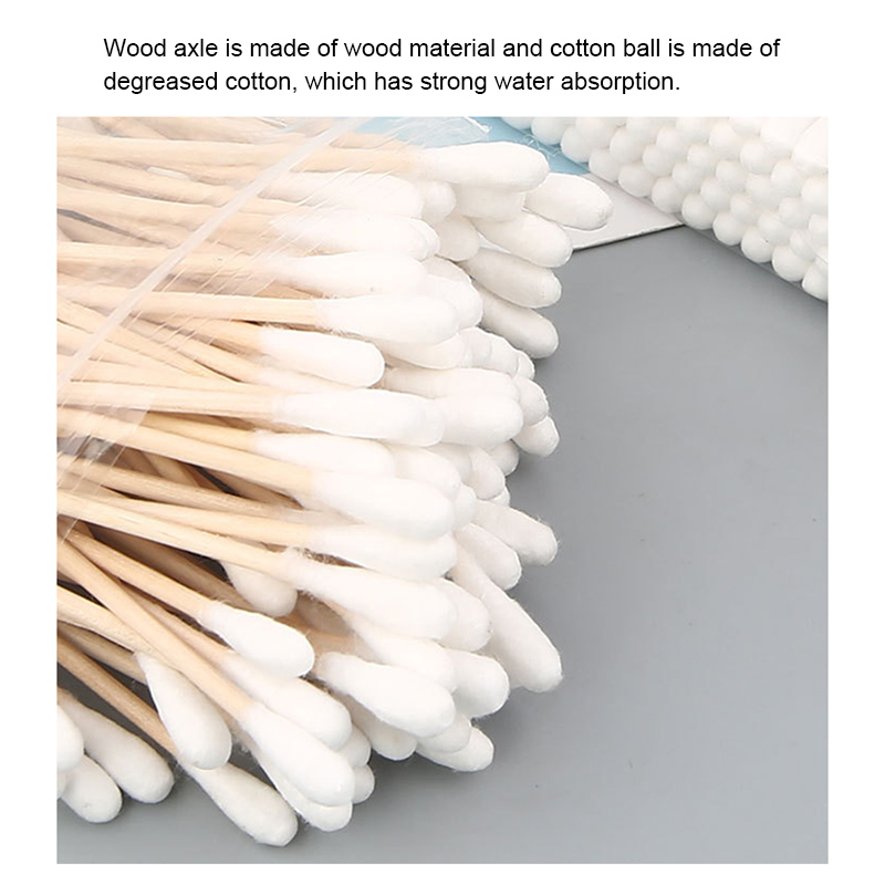 200Pcs Wooden Cotton Swabs Biodegradable Double Tipped Wood Cotton Buds For Makeup EIG88