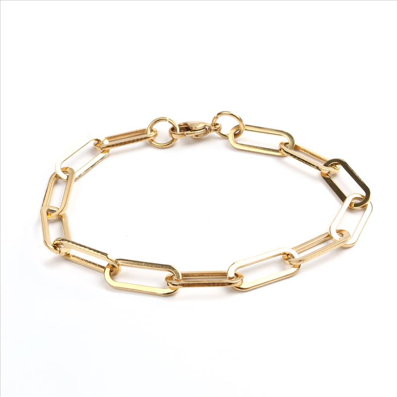 New 304 Stainless Steel 6mm Chain Bracelets Gold Oval Bracelet Jewelry For Women Men Gifts 19cm(7 4/8