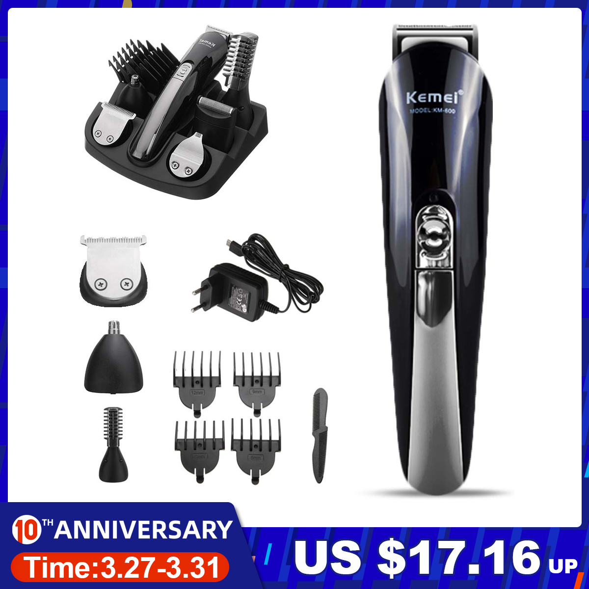 Kemei 11 In 1 Multifunction Hair Clipper Professional Hair Trimmer Electric Beard Trimmer Hair Cutting Machine Trimer Cutter 5