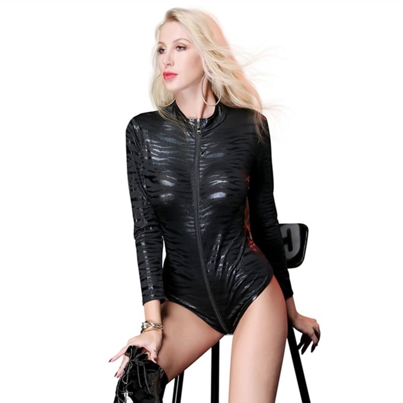 Women Sexy wetlook Leopard Clubwear PVC Latex catsuit Open Crotch Faux Leather Lingerie Bodysuits Zipper Hot PU Erotic Costumes