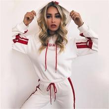 Womens Cotton Two Piece Set Hooded Casual Tracksuit2019Autumn Winter Fashion Letter Hooded Sweatshirt+Long Pant 2pcs Sports Suit цена 2017