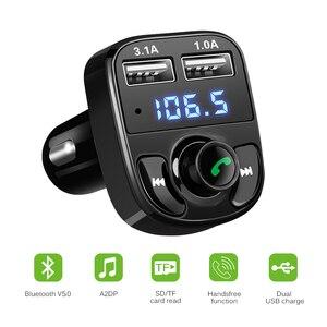 Image 2 - Onever Auto FM Transmitter Aux Modulator Bluetooth Bluetooth Verbindung Lautsprecher Car Kit MP3 Player Adapter mit 5V / 4.1a Schnellladung A2DP Funktion Dual USB Auto Ladegerät Freisprecheinrichtung Smart Charging