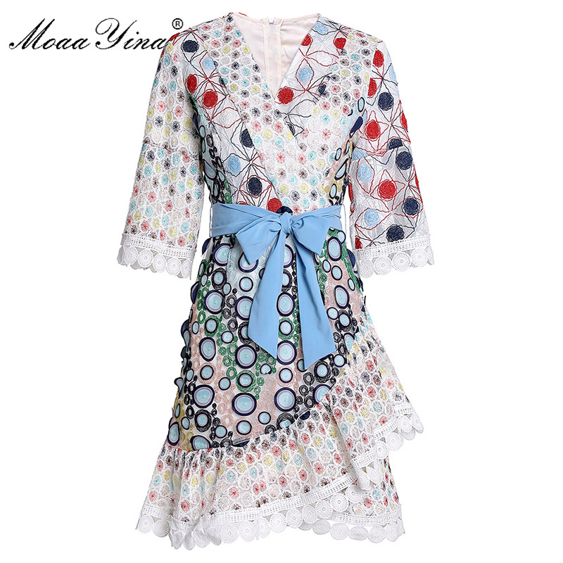 MoaaYina Fashion Designer Dress Spring Summer Women's Dress V-neck Mesh Embroidery Ruffles Asymmetrical Dresses