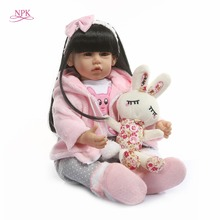 лучшая цена NPK Latest new 50cm Silicone Reborn Boneca Realista Fashion Baby Dolls For Princess Children Birthday Gift Bebes Reborn Dolls