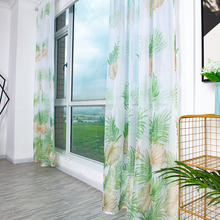 Monstera Leaves Door Screen Voile Window Sheer Curtain Drape Kitchen Curtains Party Backdrop Christmas Decorations for Home pastoral daisy door screen voile window sheer curtain blinds drape bedroom curtains backdrop christmas decorations for home wall