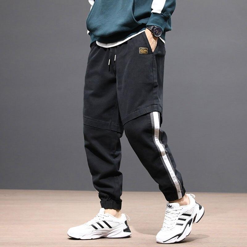 Fashion Streetwear Men Jeans Loose Fit Spliced Designer Cargo Pants White Stripe Designer Hip Hop Jeans Men Joggers Pants Hombre