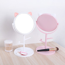 desktop 36led facial makeup mirror compact size 180 degree rotation tabletop cosmetic makeup mirror with magnification new Rotatable Makeup Mirror Double-side Mirror with Cosmetic Storage Box Multifunction Desktop Makeup Mirror Wall Mirror Makeup Tool