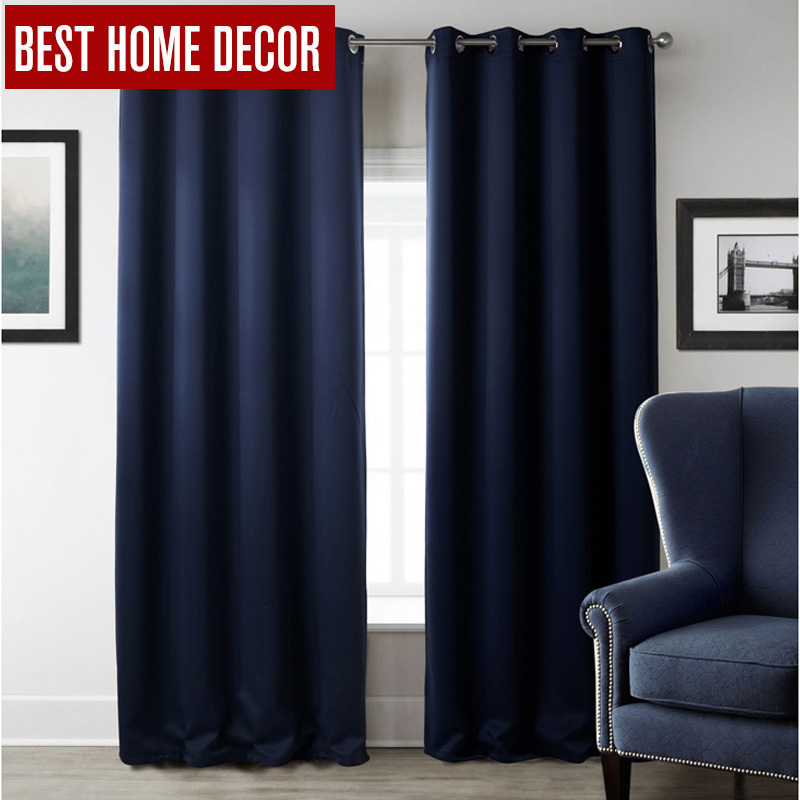 Modern Blackout Curtains For Window Treatment Blinds Finished Drapes Solid Color Blackout Curtains For Living Room Bedroom