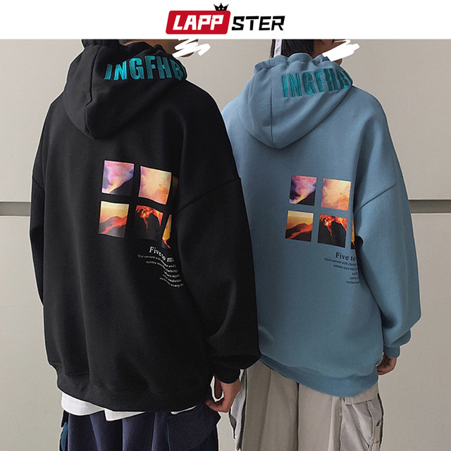 LAPPSTER Men Harajuku Graphic Sweatshirts Autumn Mens Embroidery Japanese Streetwear Hooded Hoodies Thick Korean Hoodies