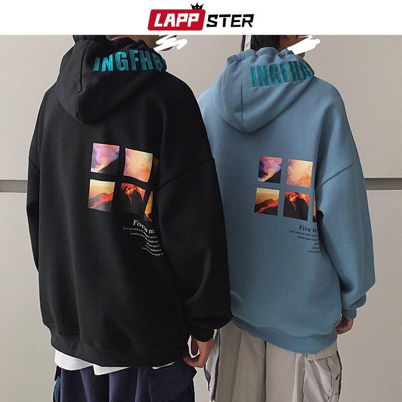 LAPPSTER Men Harajuku Graphic Sweatshirts 2020 Autumn Mens Embroidery Japanese Streetwear Hooded Hoodies Thick Korean Hoodies