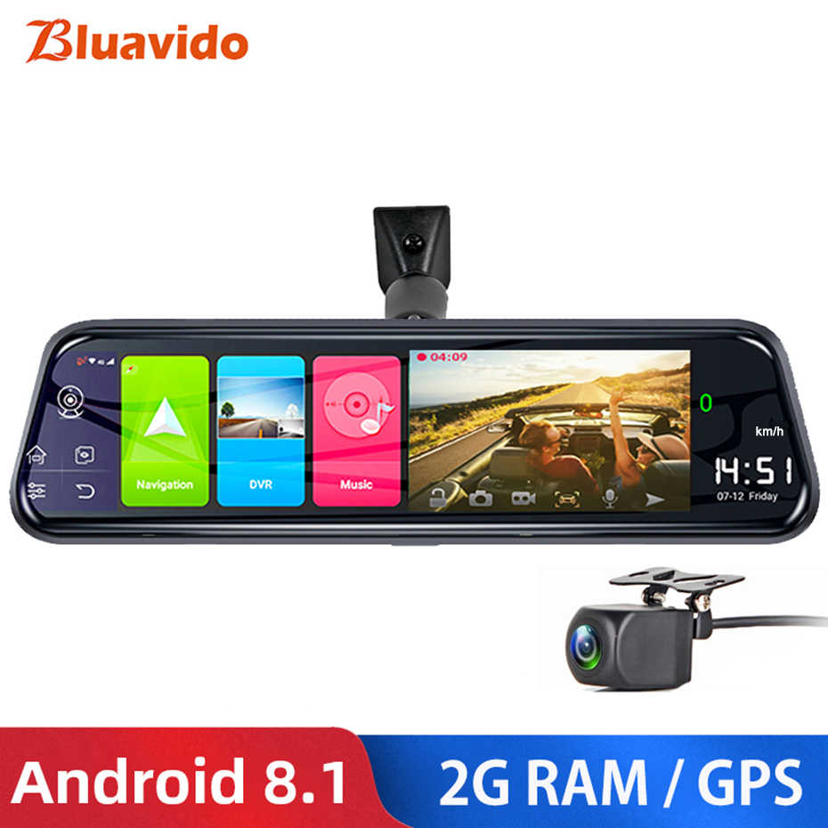 "Bluavido 10 ""4G Android 8.1 Dashcam Gps Navigasi Adas Mobil Spion Kamera Full HD 1080P Mobil perekam Video DVR Wifi Bt"