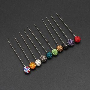 Image 5 - 30 adet Müslüman Başörtüsü Eşarp Emniyet Pimleri Kristaller Topu Broş Düz Kafa Pimleri