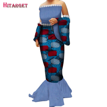 African Dress Wax Print African Dresses for Women Bazin Riche Dashiki Party Dress Sexy with Special Sleeves Customizable WY3321