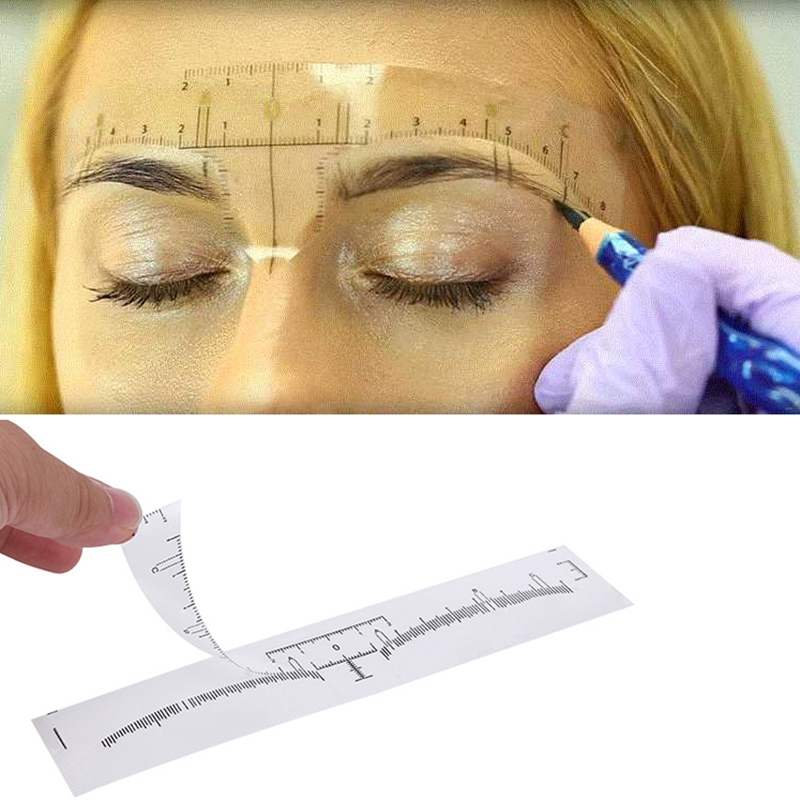 50pcs Reusable Semi Permanent Eyebrow Stencil Makeup Microblading Measure Tattoo Ruler Tools,Eyebrow Stencil