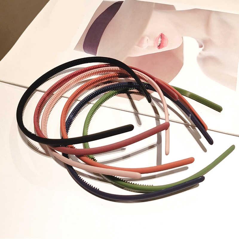 1 шт. модные матовые тонкие пластиковые повязки для волос карамельного цвета, Женская повязка на голову, нескользящая резиновая обруч для волос, аксессуары для волос в виде тюрбана