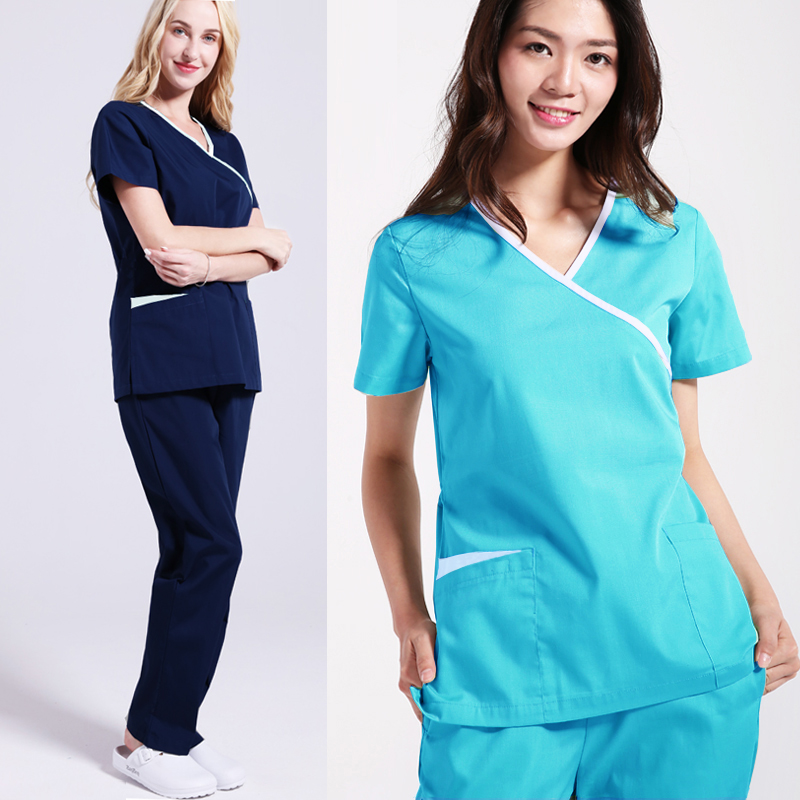 Scrubs Set Mock Wrap Short Sleeves Shirt With Two Large Pockets Medical Spa Uniform & Nursing Scrubs Pants US Size