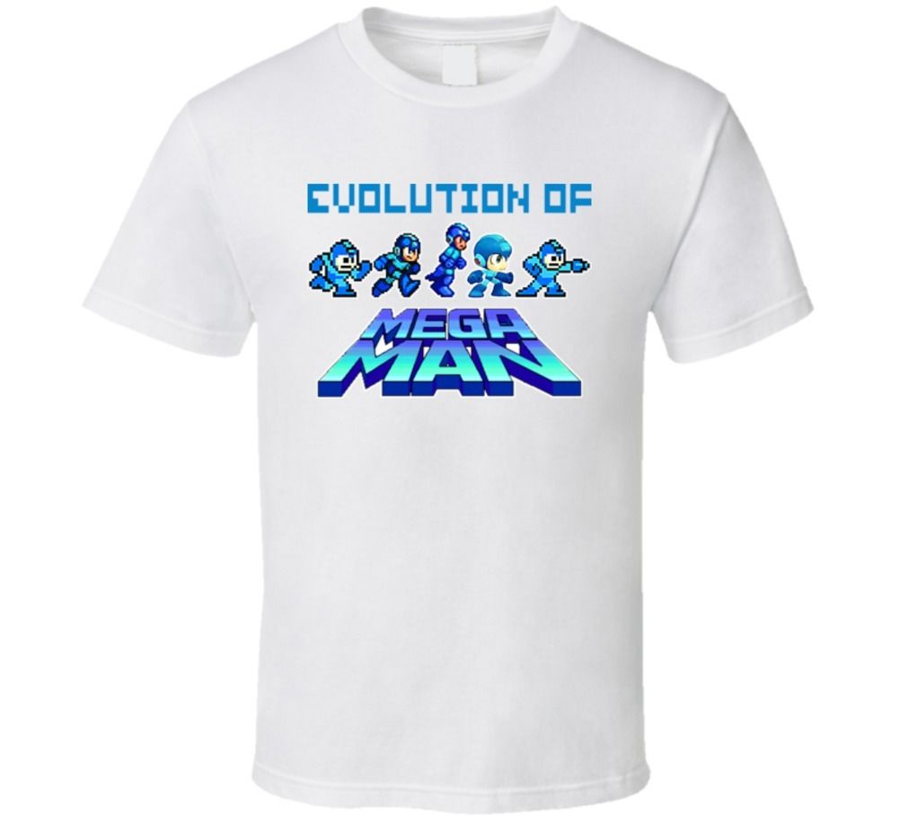 Evolution of Mega Man Video Game T Shirt O-Neck Fashion Casual High Quality Print T-Shirt Male Designing T Shirt Top Tee image