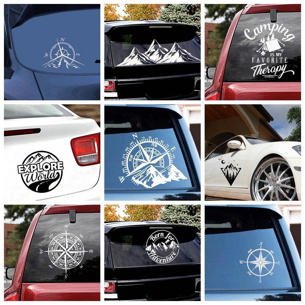 Hot Sale Compass And Mountains Adventure Car Sticker Art Pattern Decor Car Stickers Accessories Car Body Glue Sticker Wrap Vinyl