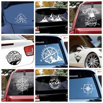 Hot Sale Compass and Mountains Adventure Car Sticker Art Pattern Decor Stickers Accessories Body Glue Wrap Vinyl