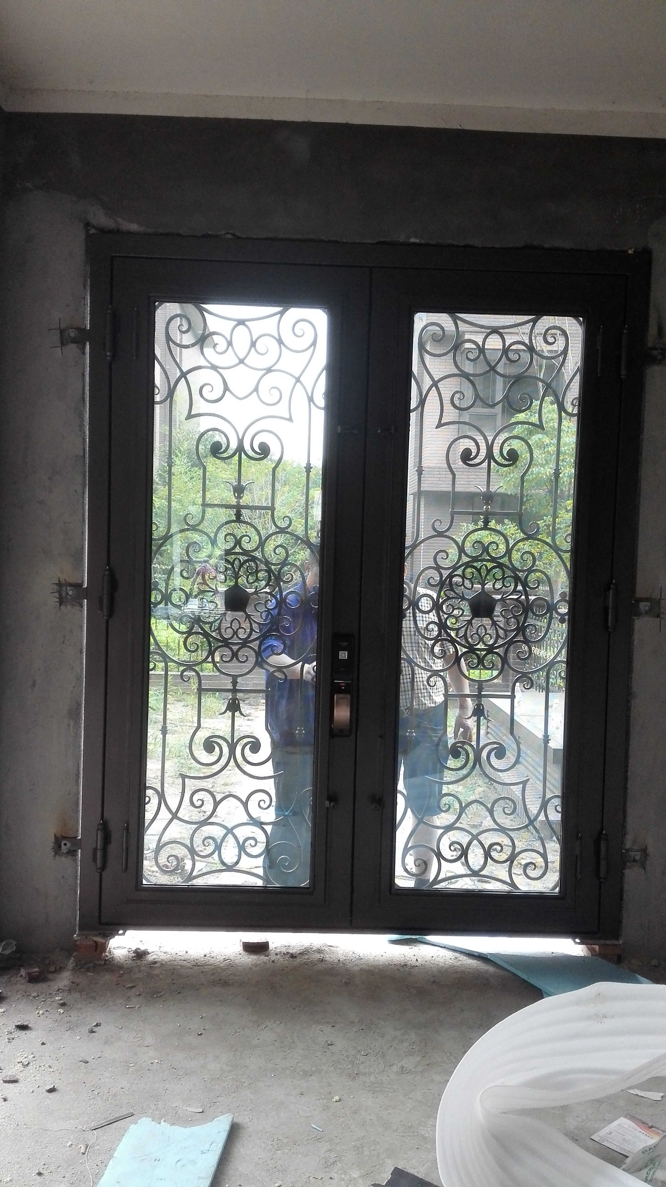 Shanghai Hench Brand China Factory 100% Custom Made Sale Australia Wrought Iron Door With Sidelights