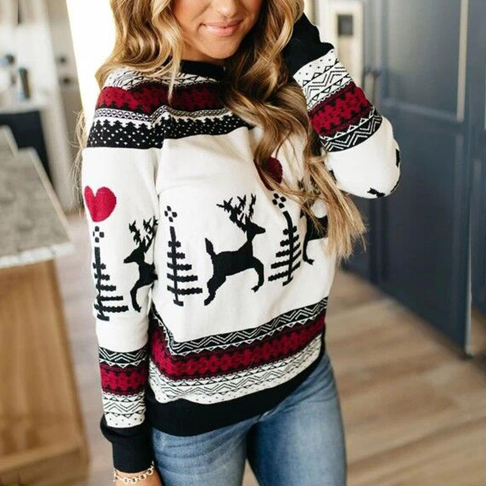 2020 New Year Women's Christmas Xmas Sweater Fashion Female Jumper Sweater Long Sleeve Xmas Deer Printed Pullover Tops Sweaters